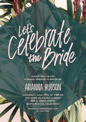 Tropical Green Bridal Shower Invitations from Wedding Paper Divas