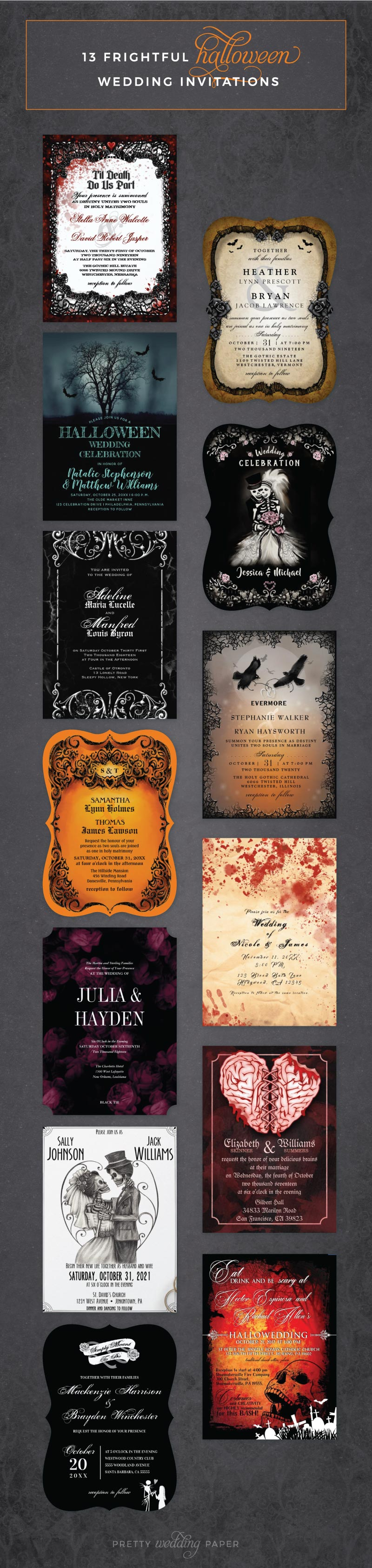 13 Frightful Halloween Wedding Invitations