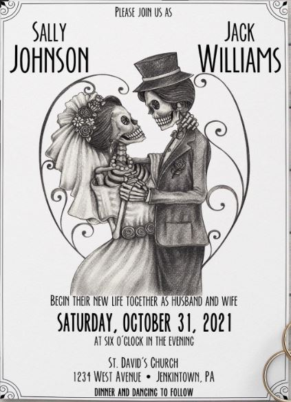Halloween Skeleton Wedding Invitation