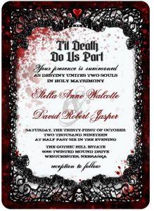 Til Death Do Us Part Halloween Wedding invitation