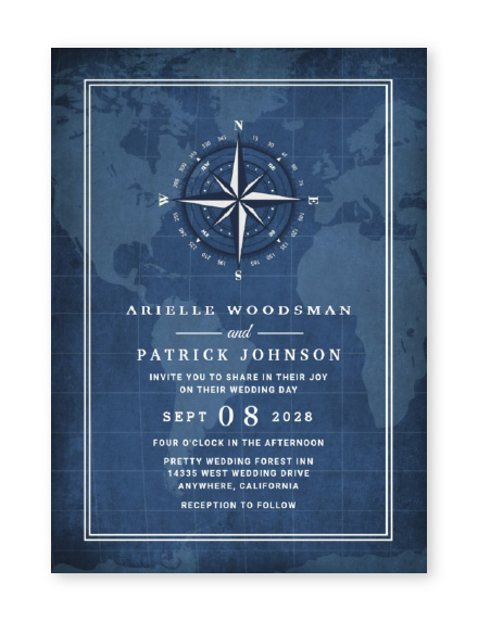 Navy blue wedding invitation with white invitation text, world map in the background and compass at the top