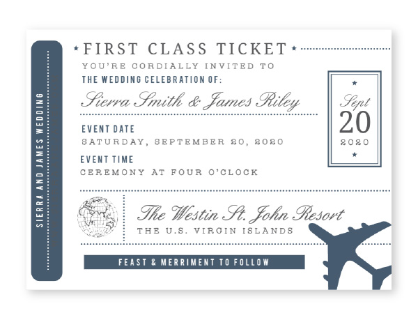 Ticket themed wedding invitation in navy and dark gray with airplane and world map