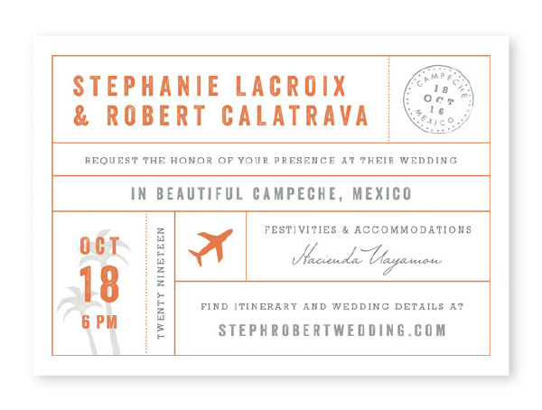 Travel themed wedding invitation in orange and gray with plane, airmail stamp and palm trees