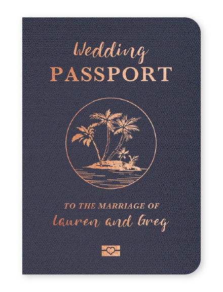 Rose gold and navy blue folding passport wedding invitations with palm tree icon