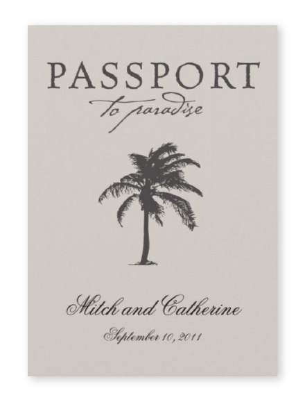 """Passport to Paradise"" wedding invitation with palm tree in tan and dark gray"