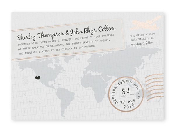 Destination themed wedding invitation with world map, heart and airmail stamp