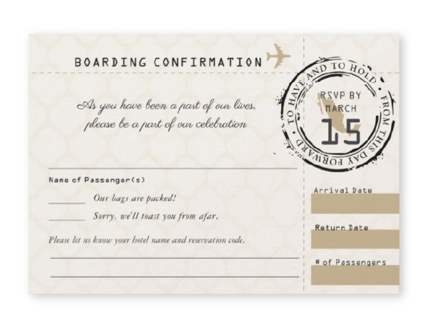 Boarding pass themed RSVP card for Mexico destination wedding