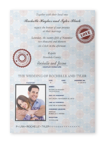Official-looking US Passport themed folding wedding invitation with photo of couple