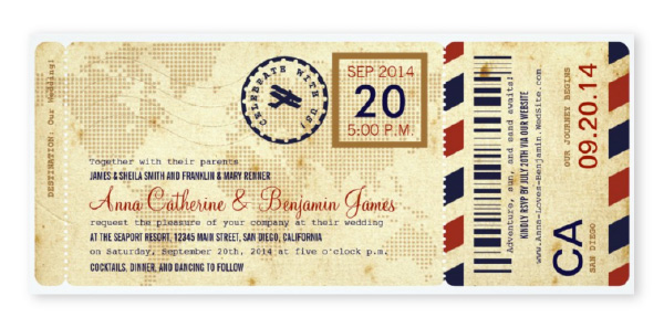 Vintage style boarding pass ticket themed wedding invitation with tan, red and navy blue