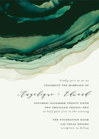 Flow Green Wedding Invitation Preview