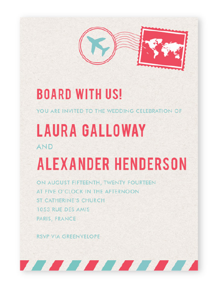 Airmail themed paperless wedding invitation in bright blue and red on tan background