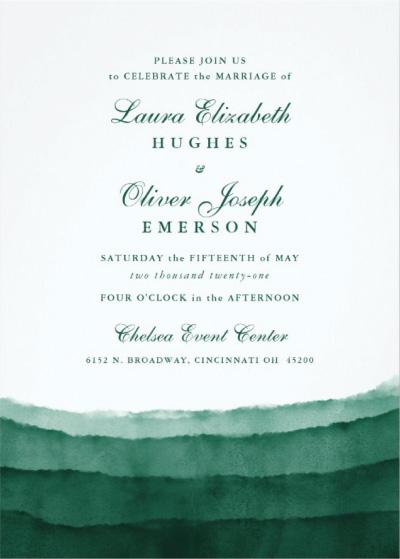 Emerald Green Watercolor Wedding Invitation Preview