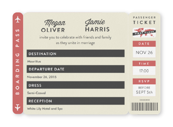 Boarding pass ticket themed paperless wedding invitation in coral, tan and gray
