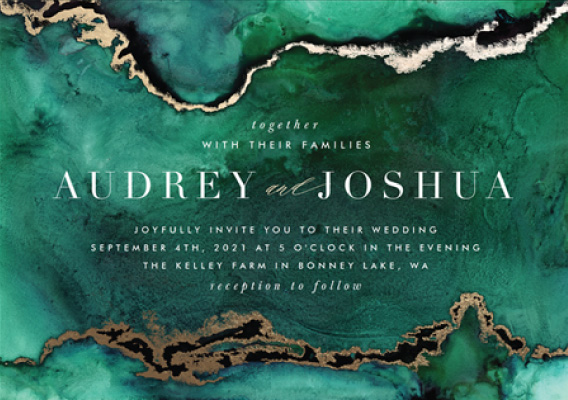Enthralled Emerald Green Paperless Wedding Invitation Preview