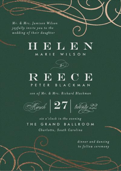 Sofisticato Emerald And Bronze Wedding Invitation Preview