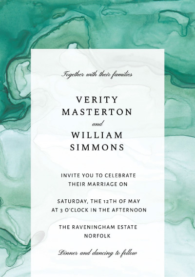 Green Marble Wedding Invitation Preview