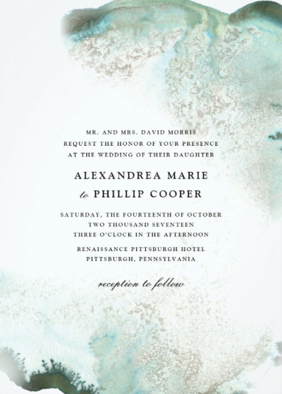 Ombre Green Watercolor Wedding Invitation Preview