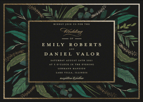 Emerald Leaves Gold Foil Wedding Invitation Preview