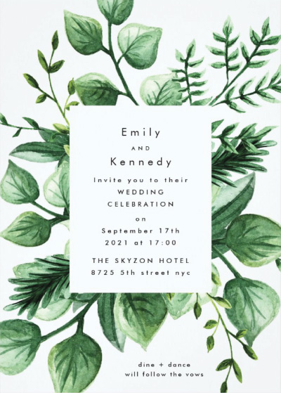 Leafy Modern Wedding Invitation Preview