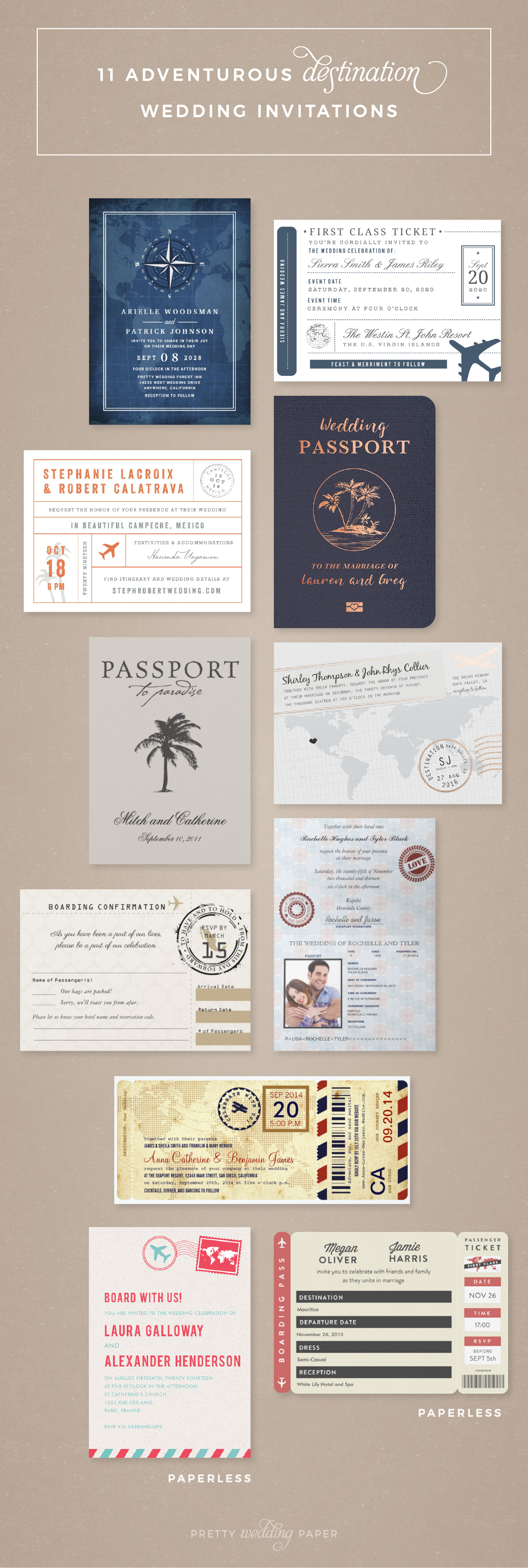 11 Destination Themed Wedding Invitations, lined up on a brown background