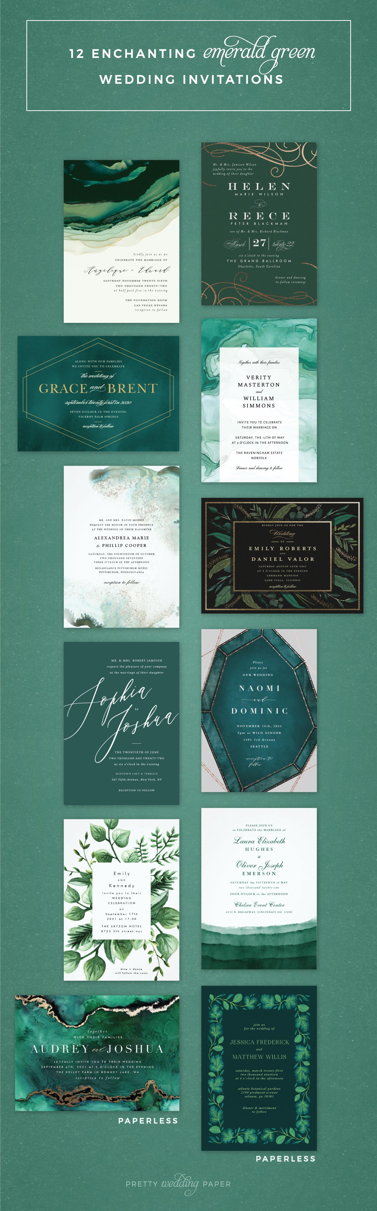 12 Enchanting Emerald Green Wedding Invitations