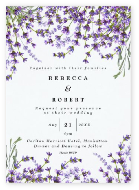 Rustic floral lavender wedding invitations with purple flowers at the top and bottom on a white background.
