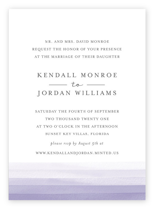 Simple, modern watercolor stripes wedding invitations with lavender purple ombre stripes at the bottom, beneath gray text on a white background.