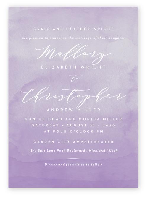 Ombre watercolor purple wedding invitations with romantic script and sans serif text in white.