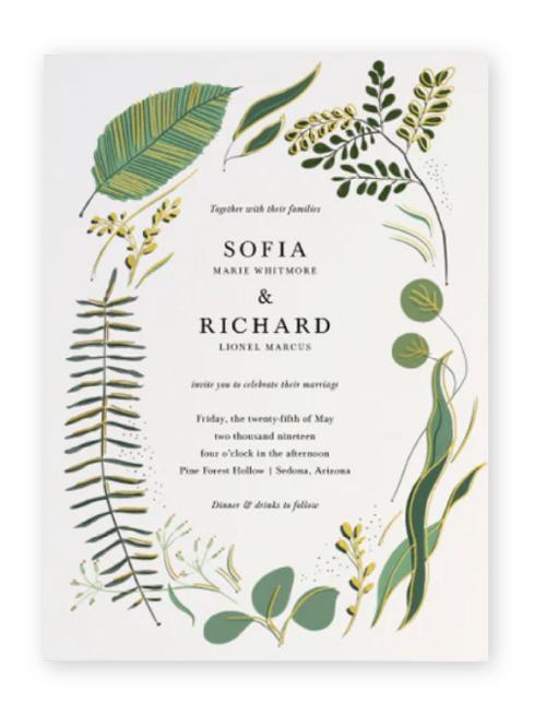 Unique, organic wedding invitations with rustic warm green botanical elements around the serif wording.