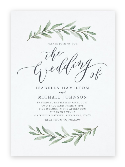 Two delicate leafy twigs frame calligraphic script & serif wording in these simple wedding invitations.