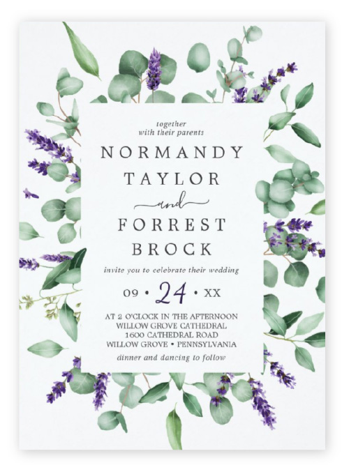 Eucalyptus and lavender wedding invitations, with greenery framing modern invitation wording.