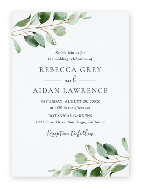 Eucalyptus leaves on either corner with modern serif and script wording in these simple modern greenery wedding invitations.