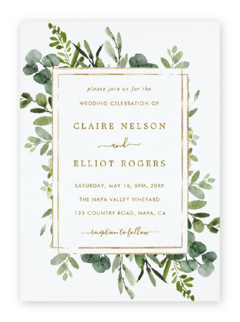 Eucalyptus wedding invitations with a rustic gold frame and modern, widely spaced gold text.