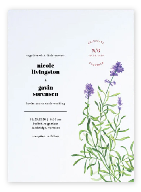 Asymmetrical wedding invitations featuring modern wording, a simple monogram, lots of white space and an illustrated lavender sprig.