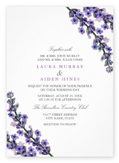 Watercolor purple wildflowers frame the corners of these simple purple and white invitations.