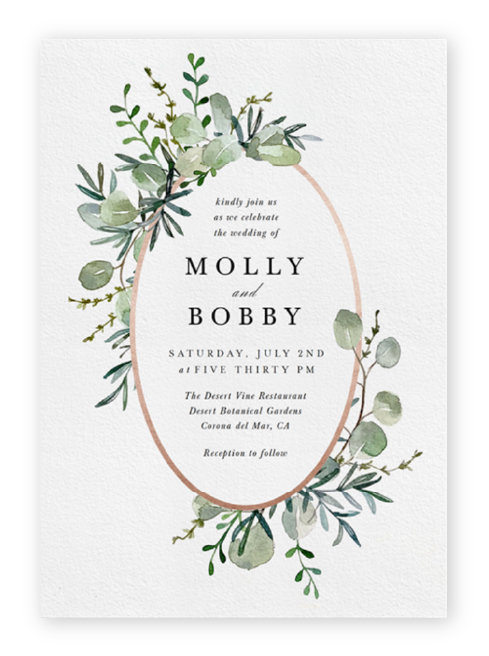 Paperless wedding invitations from Greenvelope feature an oval, rose gold foil frame and delicate watercolor botanical elements around simple serif text.