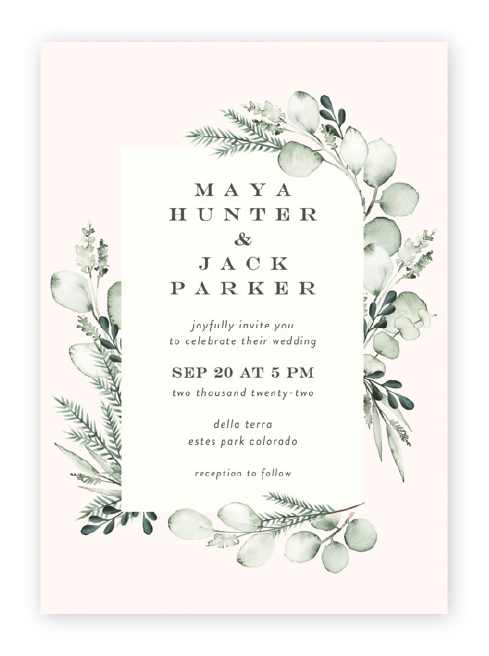 Beautiful watercolor eucalyptus and foliage frame a white box with modern styled wording, all against a soft blush background.