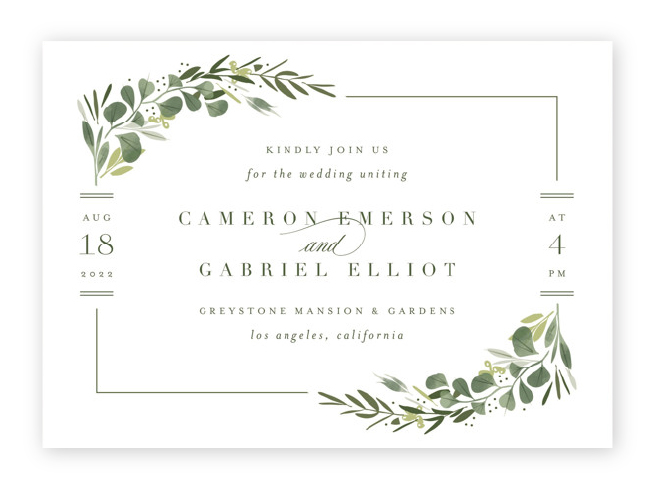 Delicate greenery frames the corners of these horizontal wedding invitations with geometric lines and elegant text.