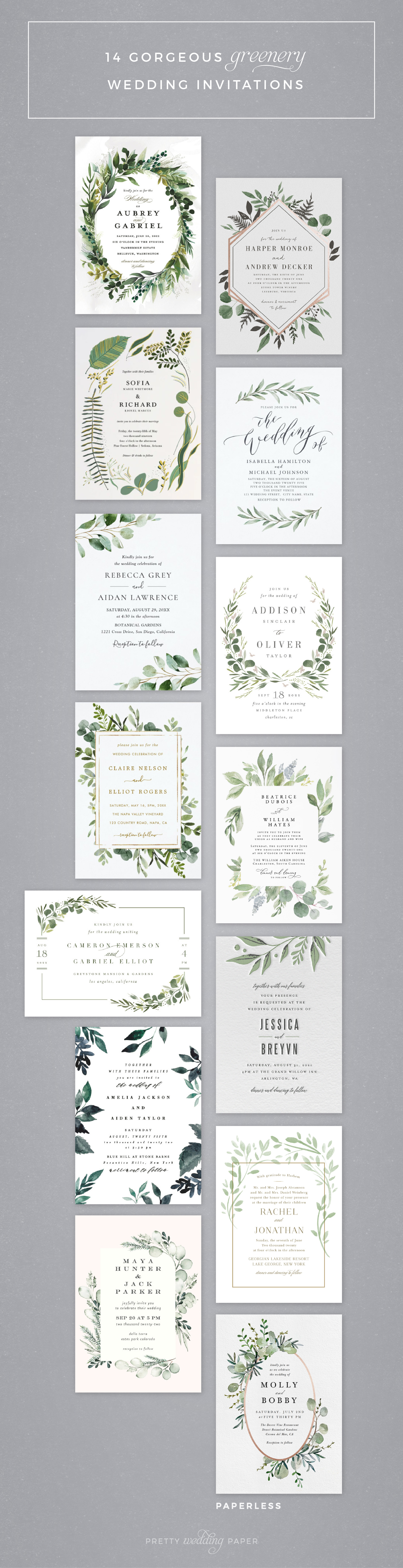 Selection of 14 greenery wedding invitations featuring delicate foliage, leaf, and eucalyptus elements on white backgrounds with gold foil, black or grey accents and text.
